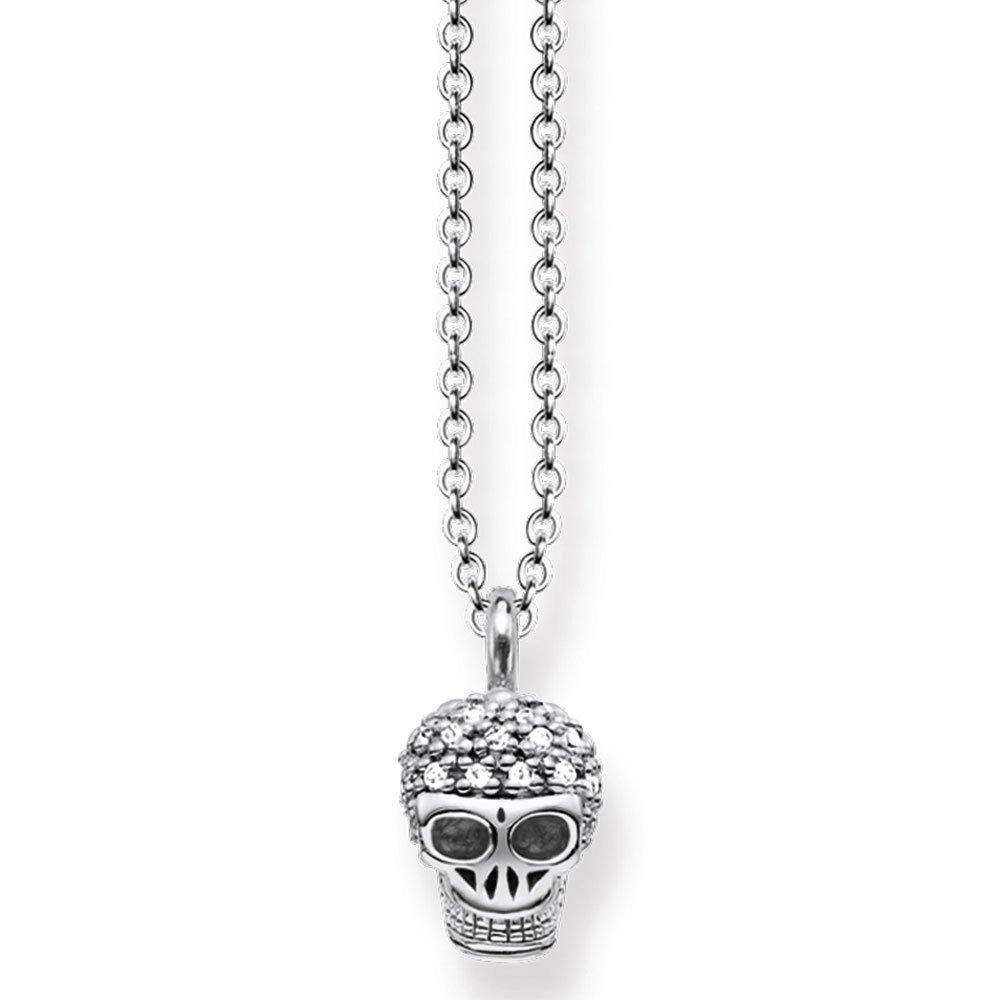 Thomas Sabo Rebel at Heart Silver Diamond Skull Necklace