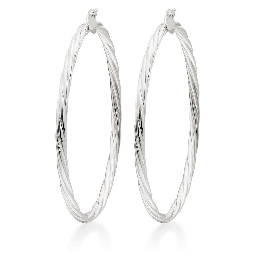 Silver Twist Hoop Earrings