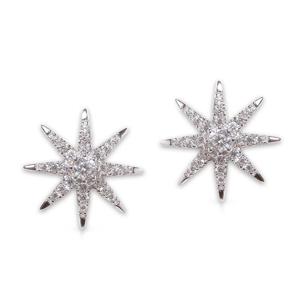 CARAT Carat* London Vega White Gold Plated Silver Star Stud Earrings