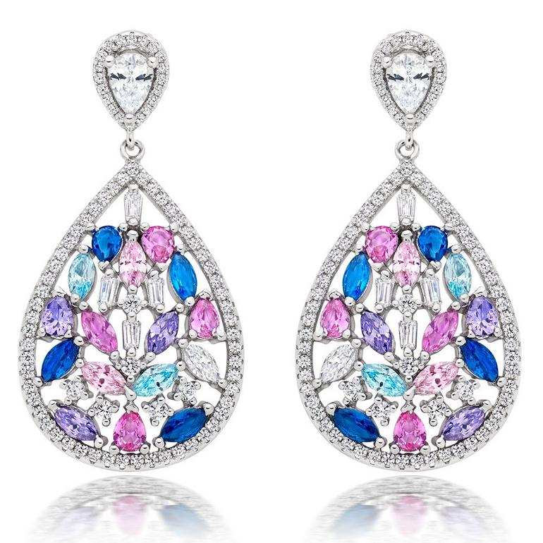 Silver Multi Colour Cubic Zirconia Drop Earrings