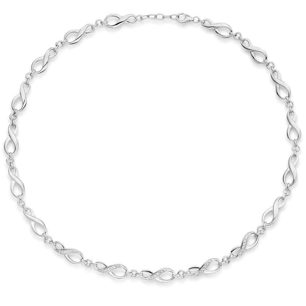 Silver Cubic Zirconia Infinity Necklace