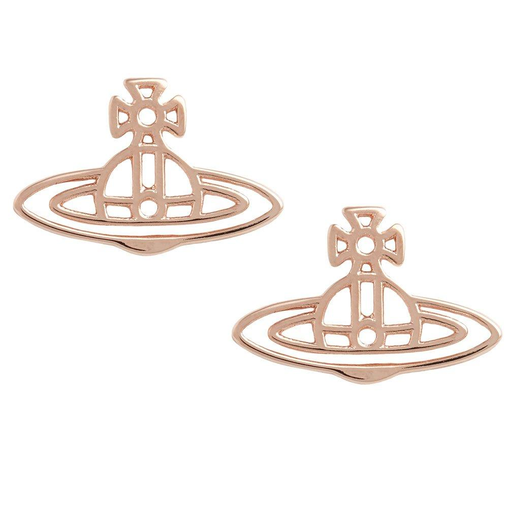 Vivienne Westwood Thin Lines Flat Orb Rose Gold Tone Stud Earrings