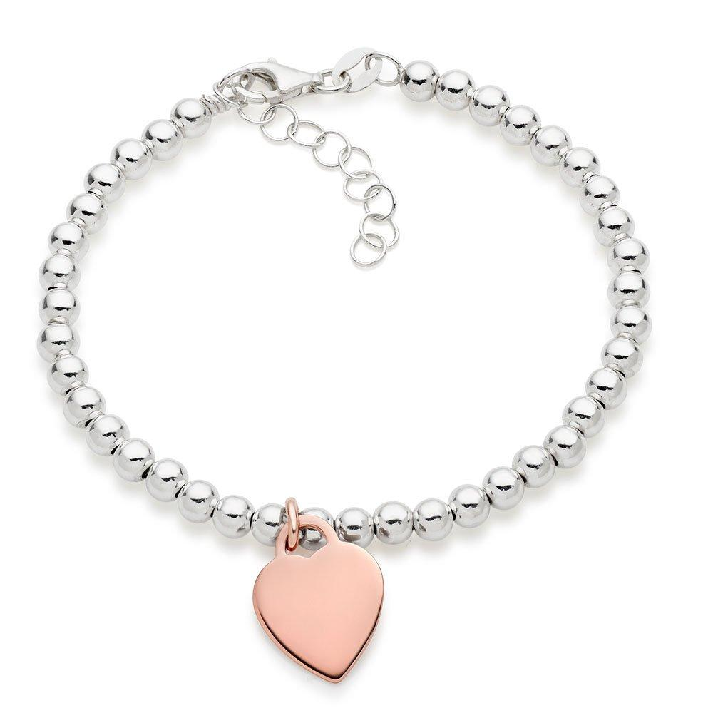 Silver and Rose Gold Plated Heart Ball Bracelet