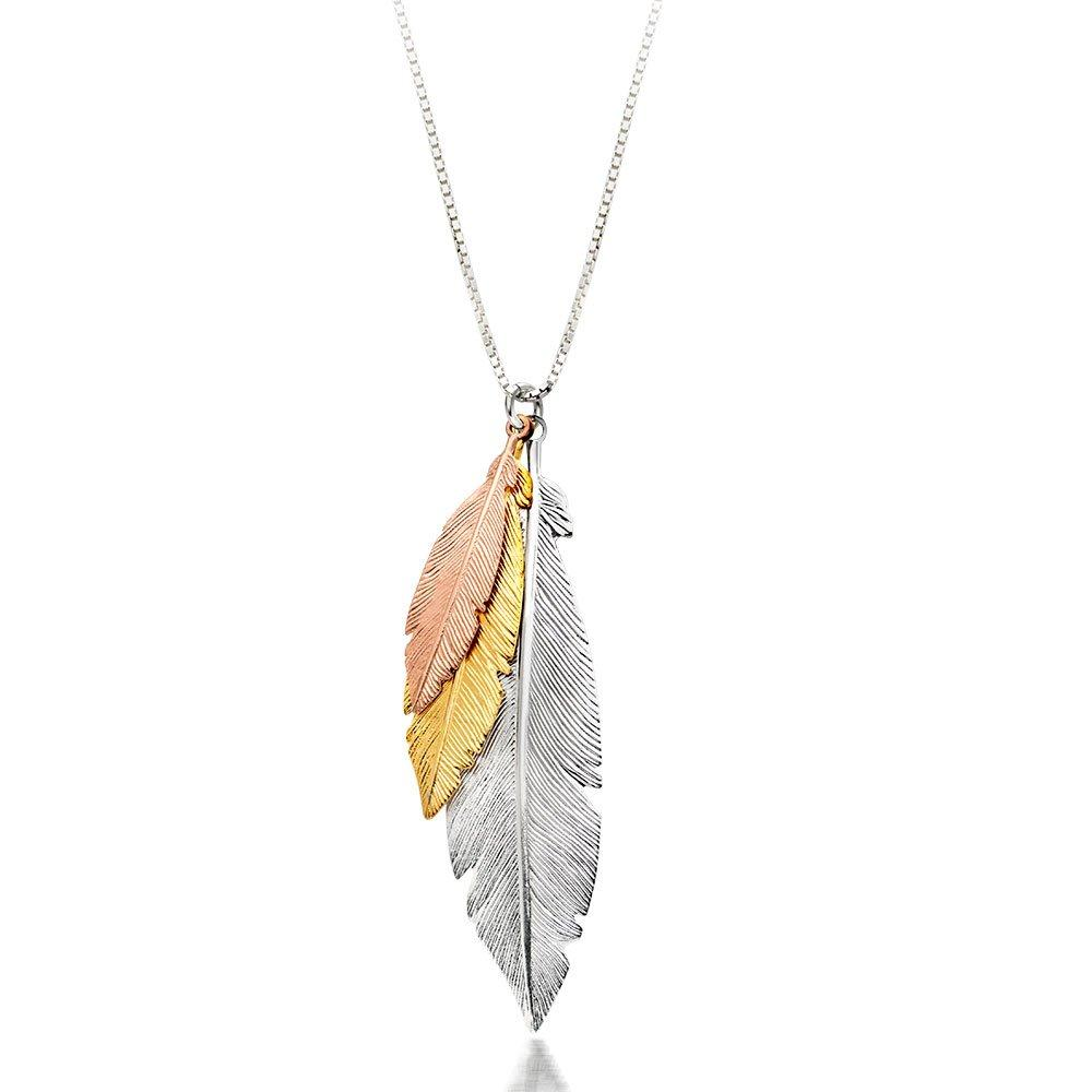 Three Colour Silver and Gold Plated Feather Necklace