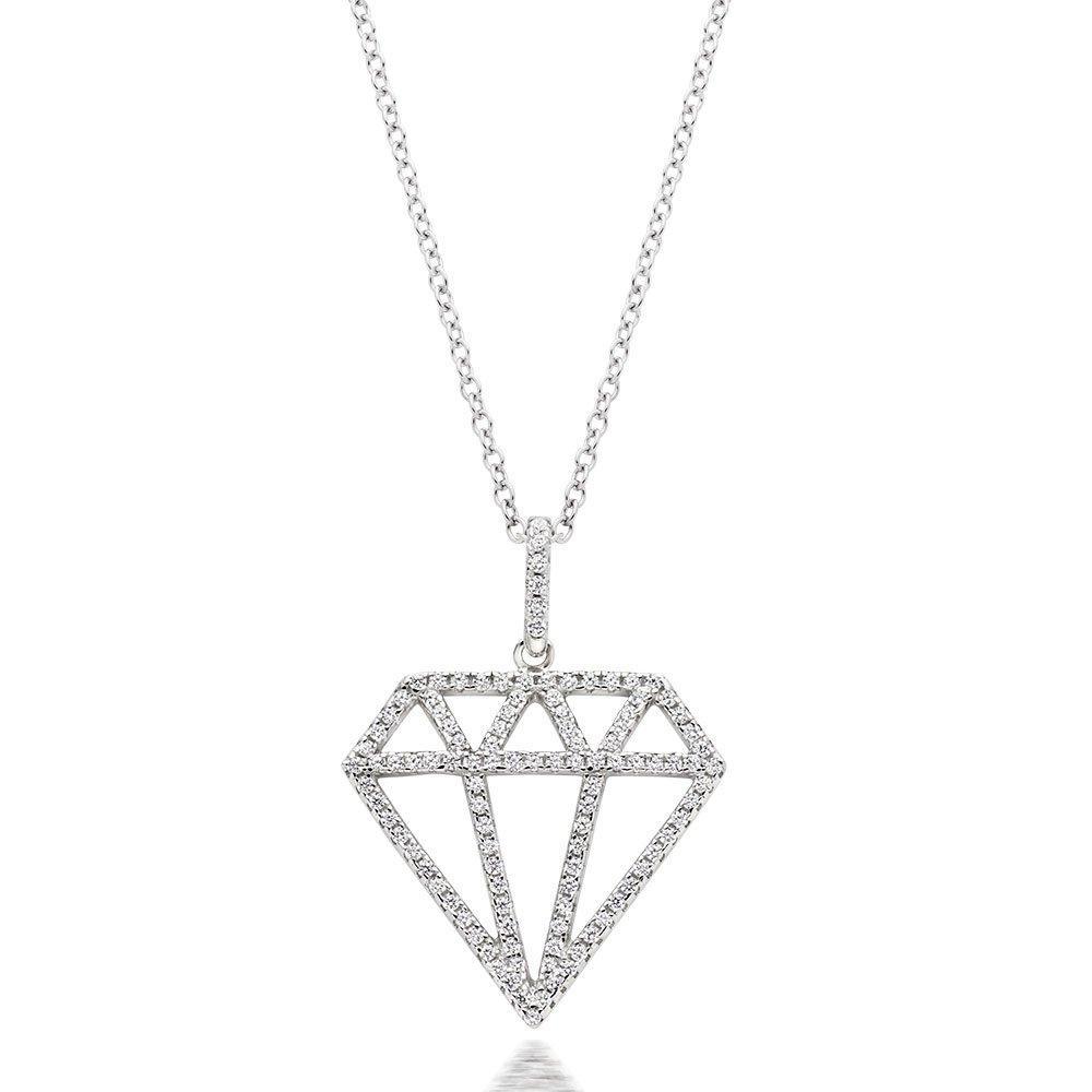 Silver Cubic Zirconia Diamond-Shaped Pendant
