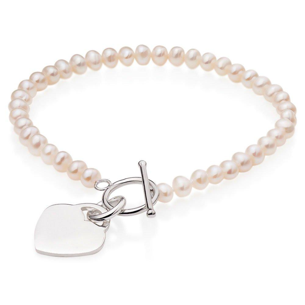 Silver and Freshwater Pearl Heart T-Bar Bracelet