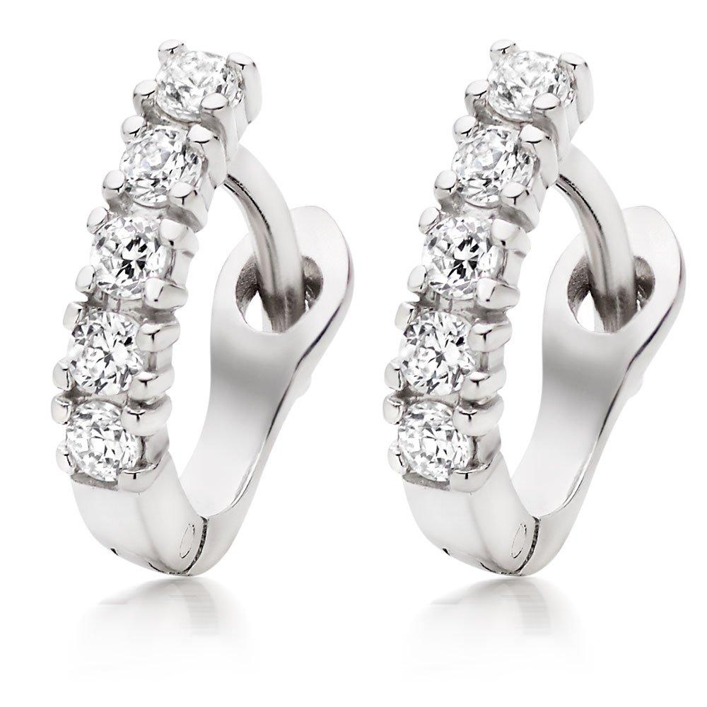 Silver Cubic Zirconia Huggie Earrings