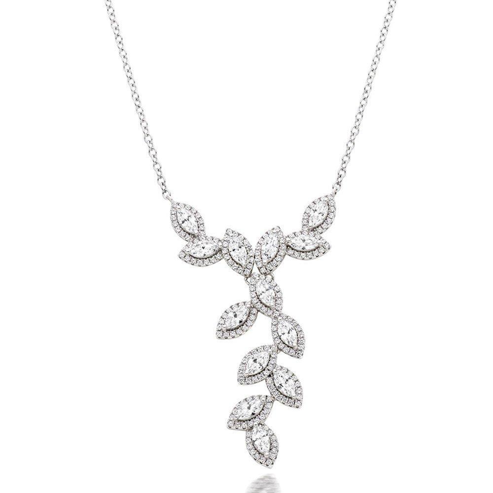 Silver Cubic Zirconia Marquise Halo Cascade Necklace
