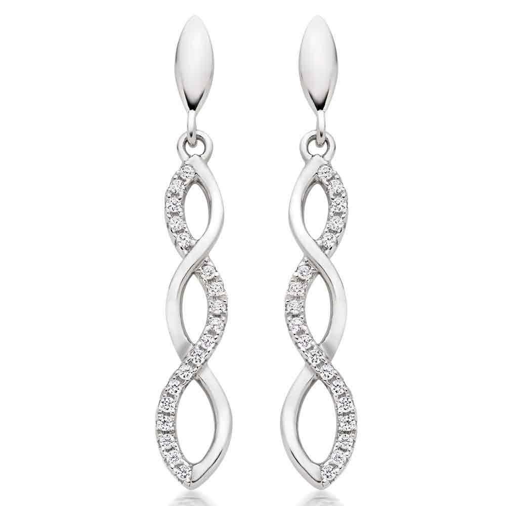 Silver Cubic Zirconia Infinity Drop Earrings