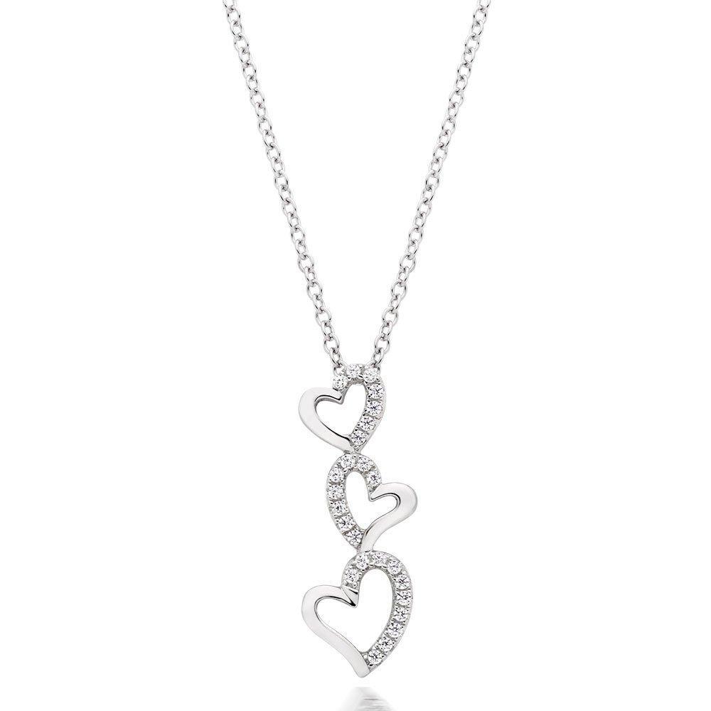 Silver Cubic Zirconia Triple Heart Pendant