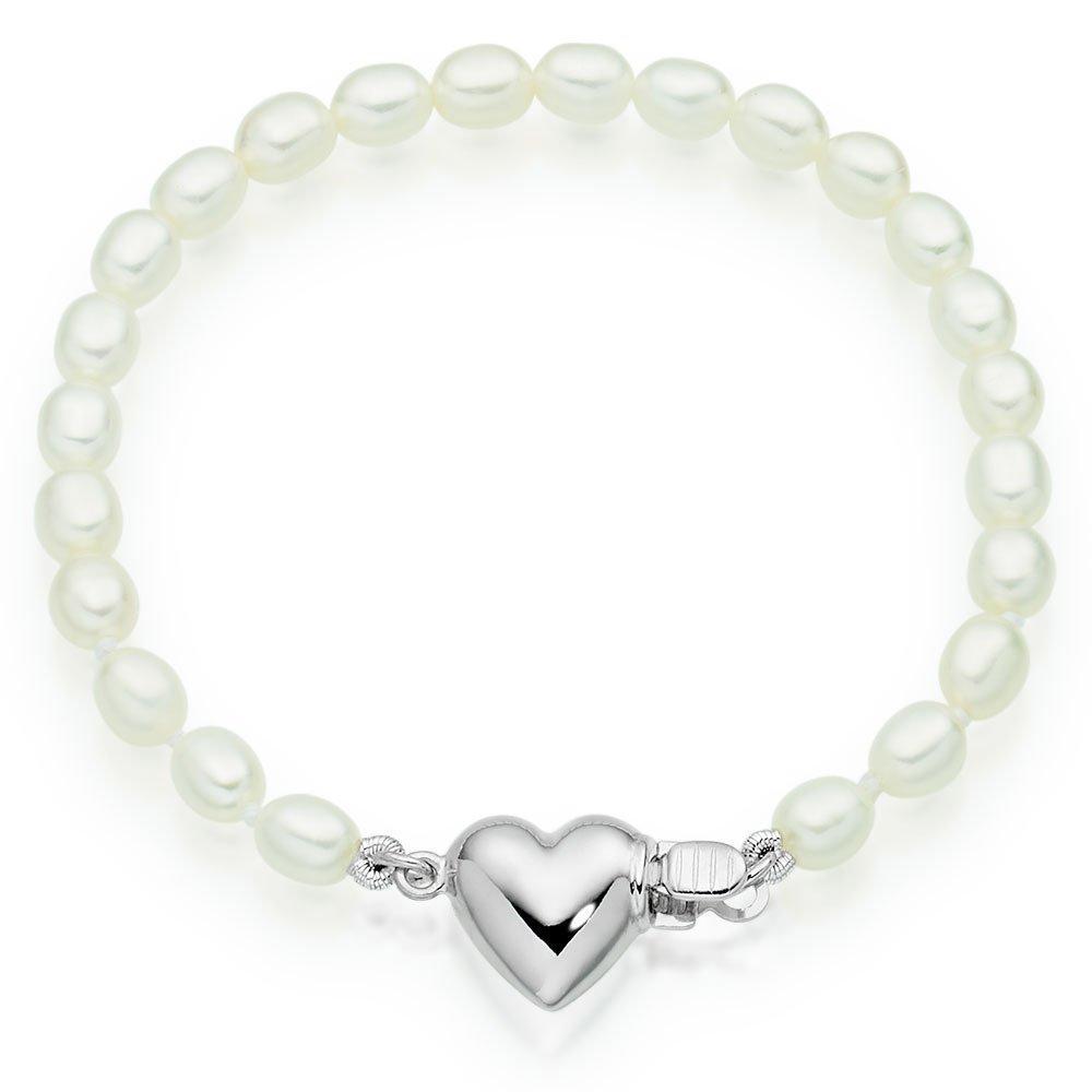 Mini B Silver Freshwater Cultured Pearl Heart Bracelet