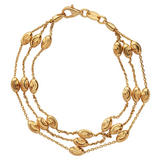 Links of London Silver Gold Plated Beaded Three Chain Bracelet