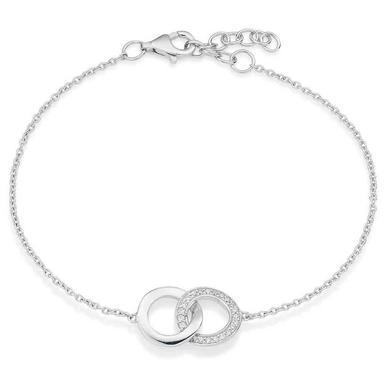 Silver Cubic Zirconia Double Circle Bracelet