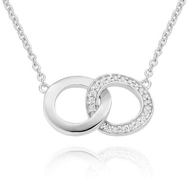 Silver Cubic Zirconia Double Circle Necklace