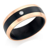 Titanium and Rose Gold Plated Diamond Men's Ring
