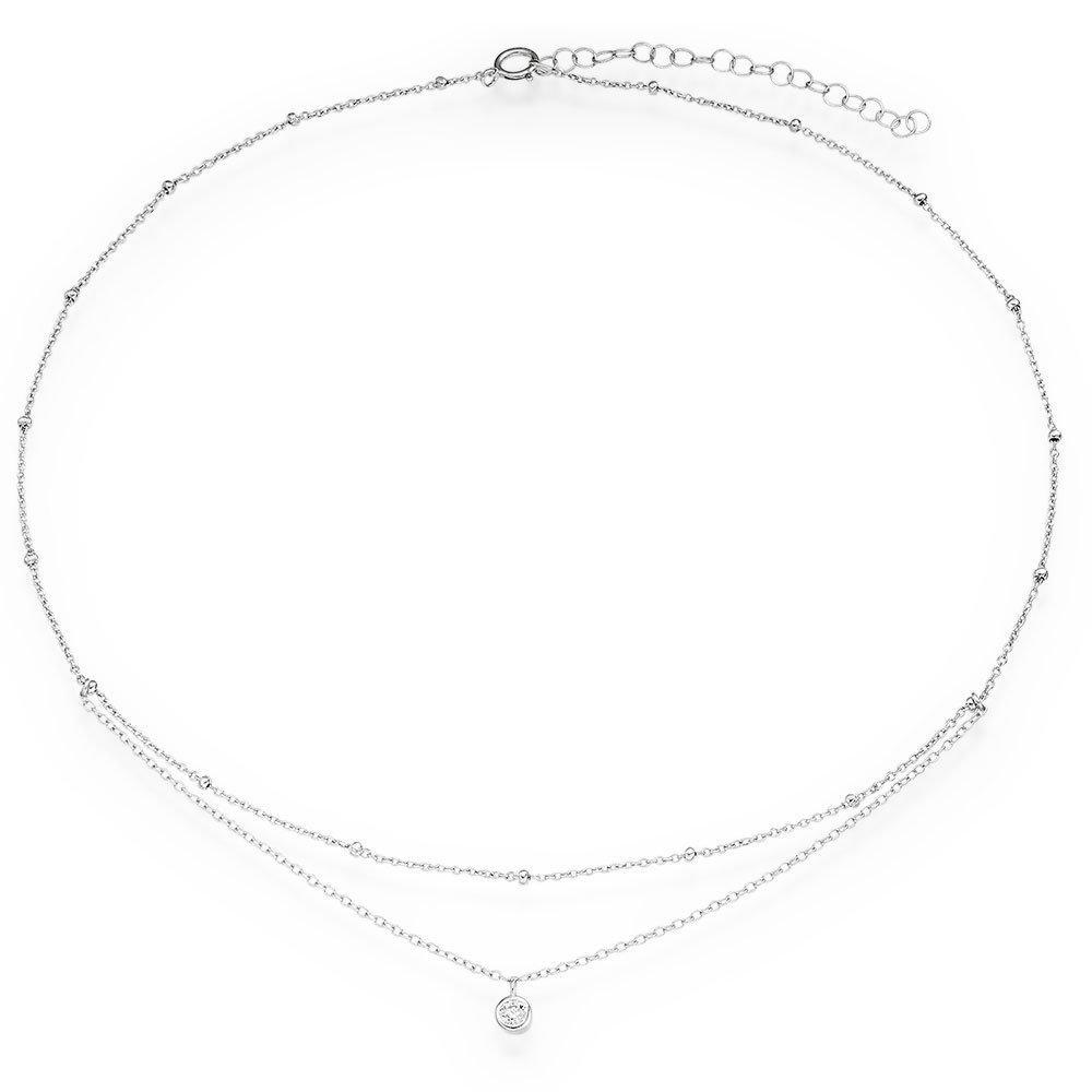 Silver Cubic Zirconia Choker Necklace