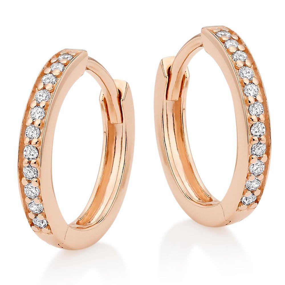 Silver Rose Gold Plated Cubic Zirconia Hoop Earrings