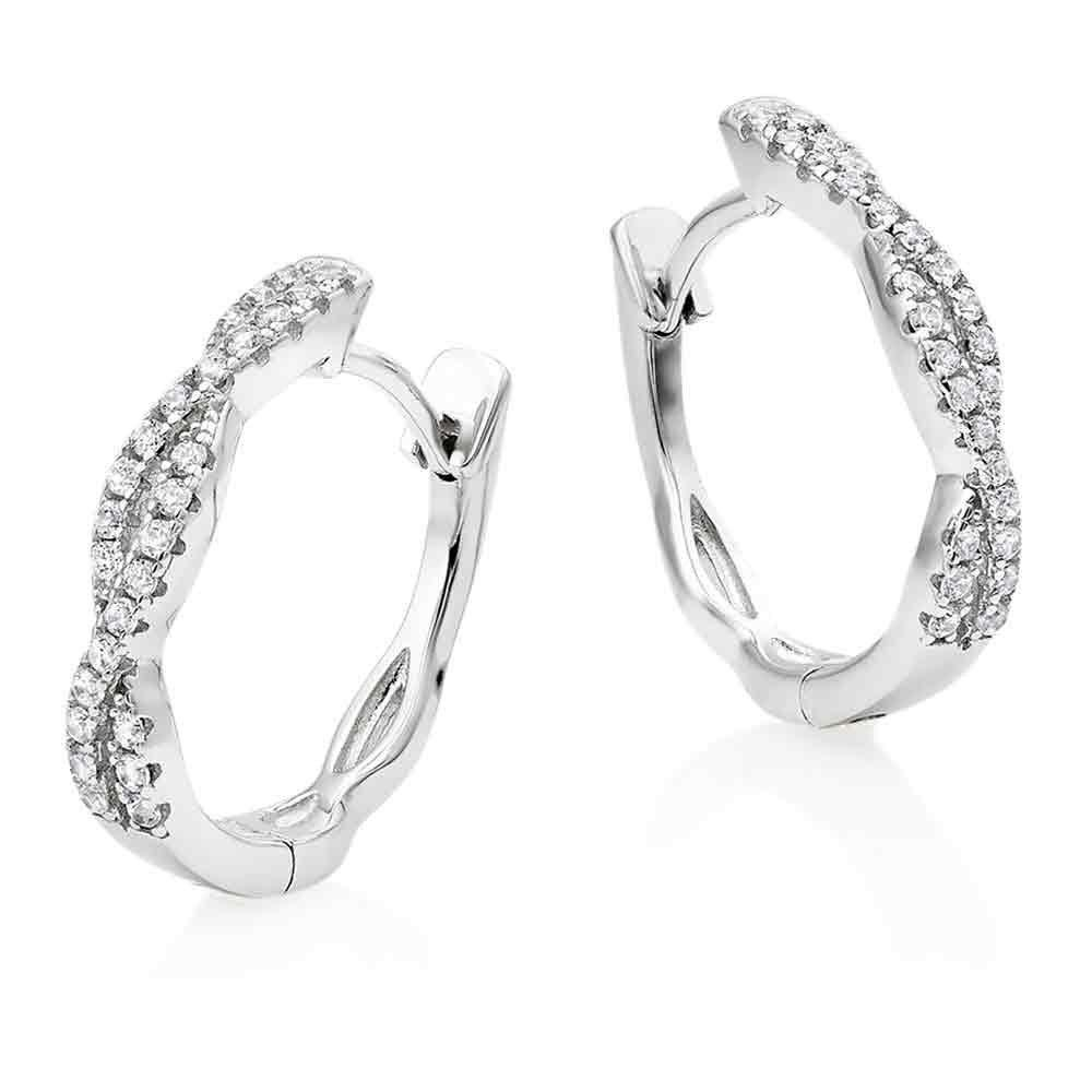 Silver Cubic Zirconia Twist Hoop Earrings
