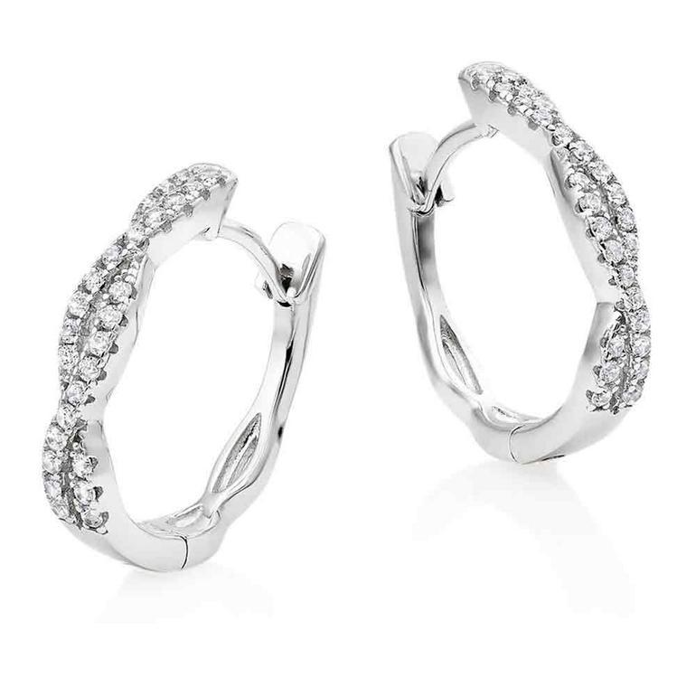 Silver Cubic Zirconia Twist Hoop Earrings