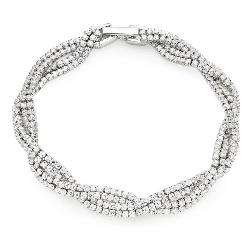 Silver Cubic Zirconia Twist Bracelet