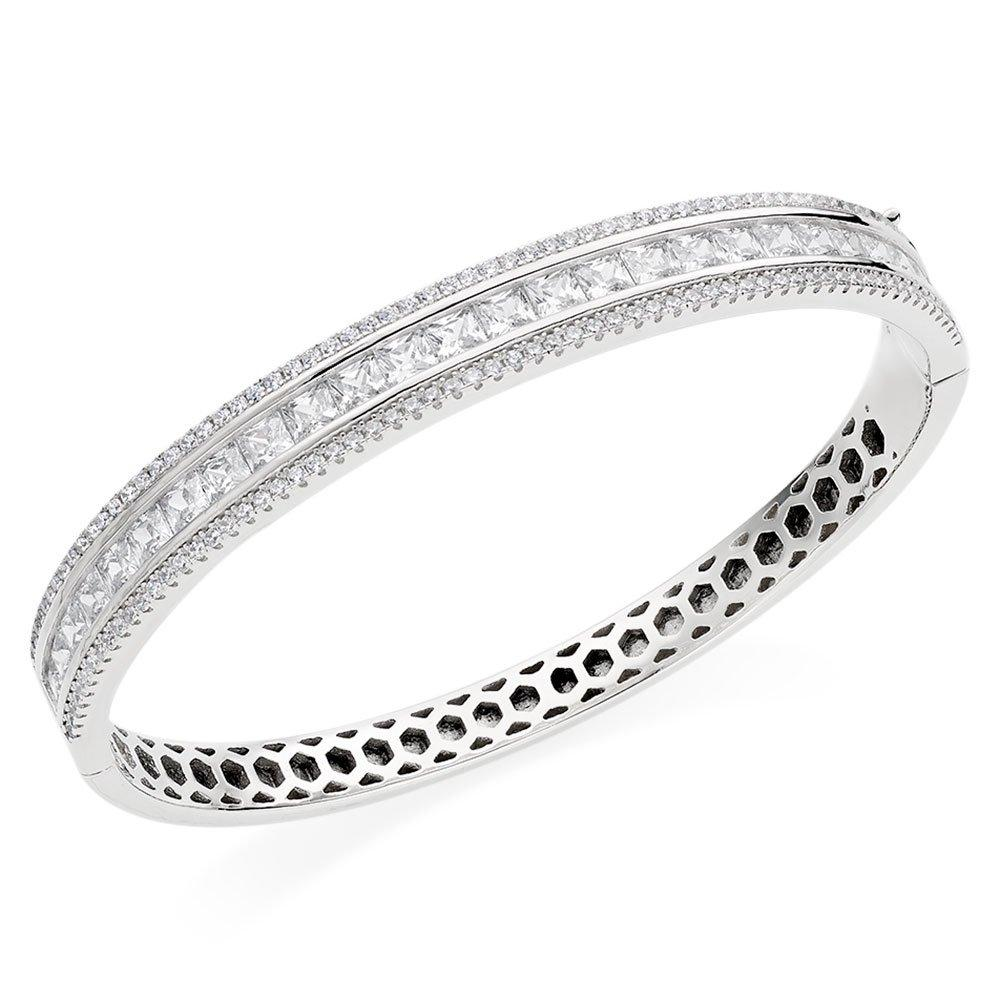 Silver Cubic Zirconia Triple Row Bangle