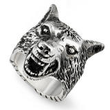 Gucci Anger Forest Wolf Head Silver Ring