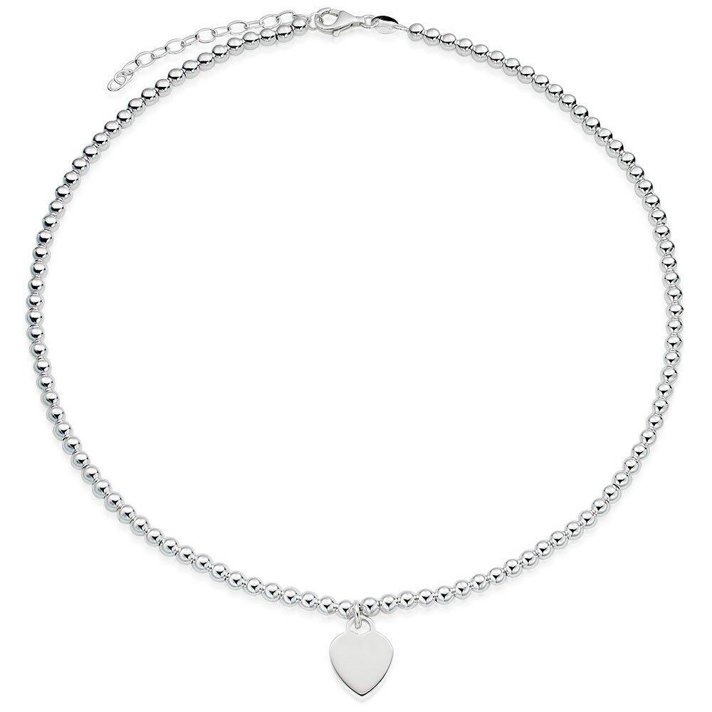 Silver Ball Heart Necklace