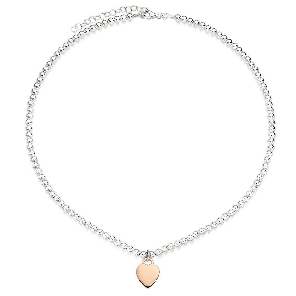 Silver and Rose Gold Plated Ball Heart Necklace