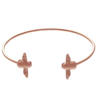 Olivia Burton 3D Bee Silver 18ct Rose Gold Plated Bangle