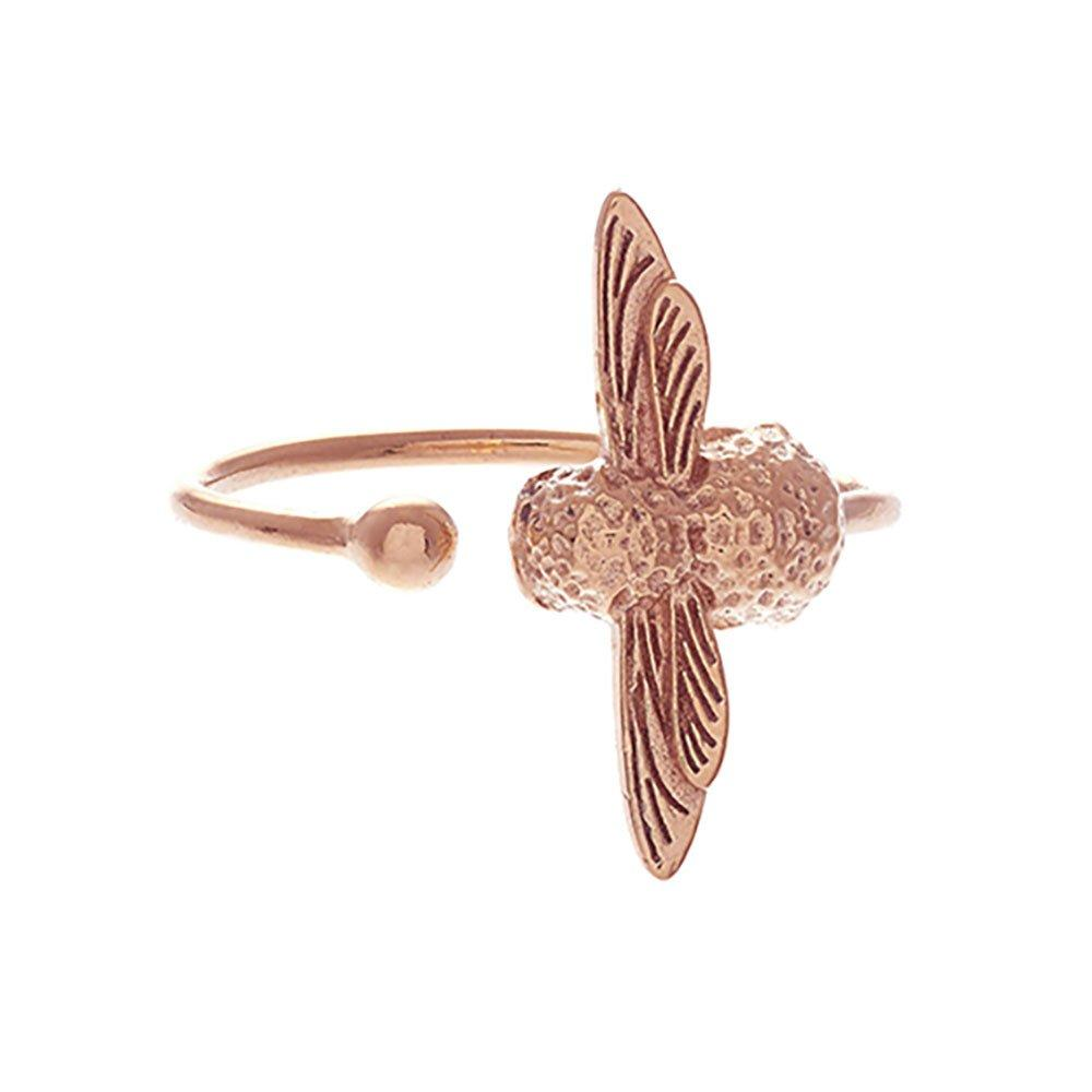 Olivia Burton 3D Bee Silver 18ct Rose Gold Plated Adjustable Ring