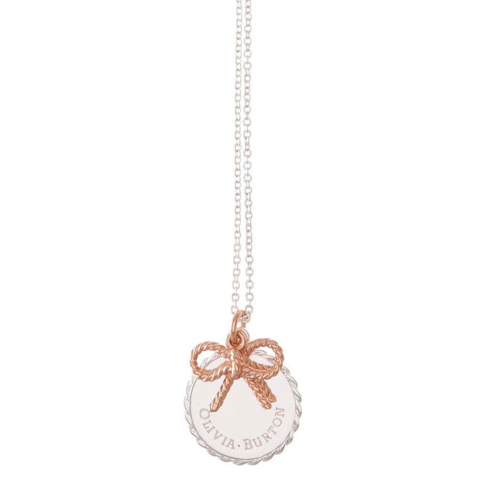 Olivia Burton Vintage Silver and 18ct Rose Gold Plated Bow Coin Necklace