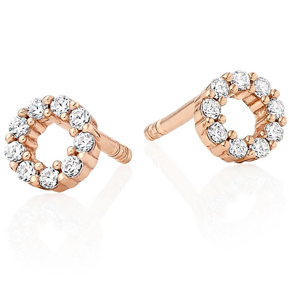 Silver Rose Gold Plated Cubic Zirconia Circle Stud Earrings