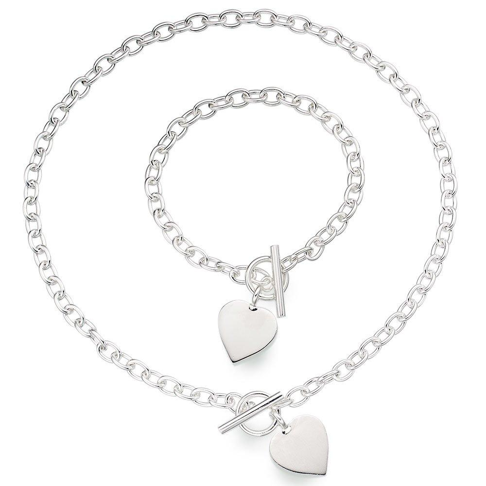 Silver T-Bar Heart Necklace and Bracelet Set