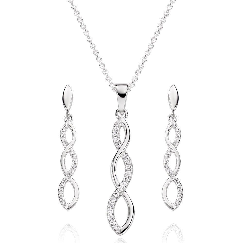 Silver Cubic Zirconia Infinity Pendant and Earrings Set