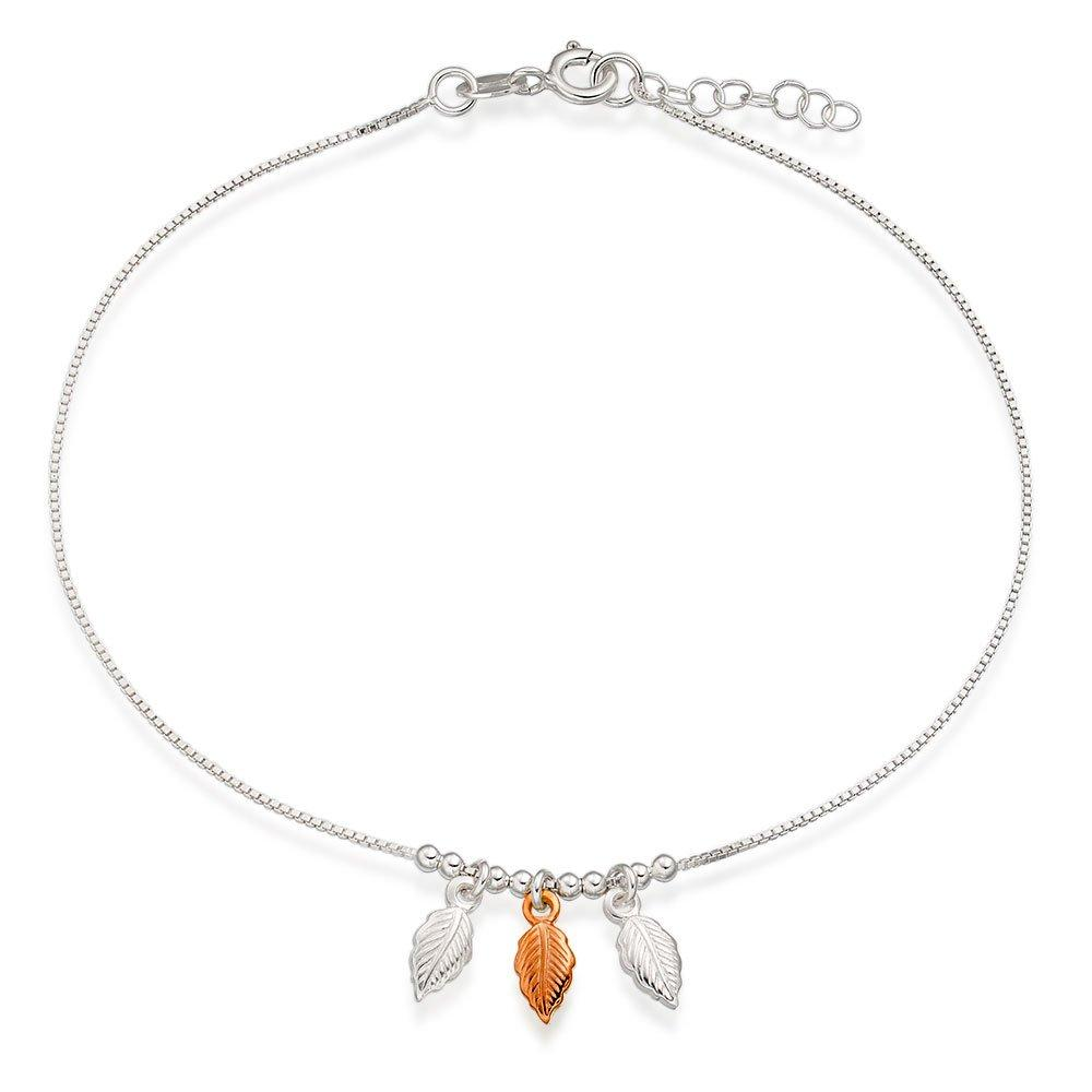 Silver and Rose Gold Plated Triple Feather Anklet
