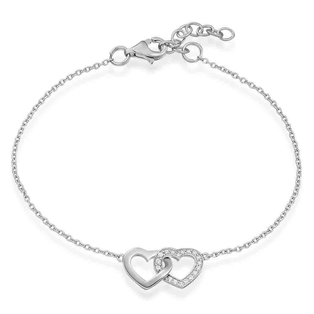 Silver Cubic Zirconia Double Heart Bracelet