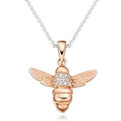 Rose Gold Plated Silver Cubic Zirconia Bee Pendant