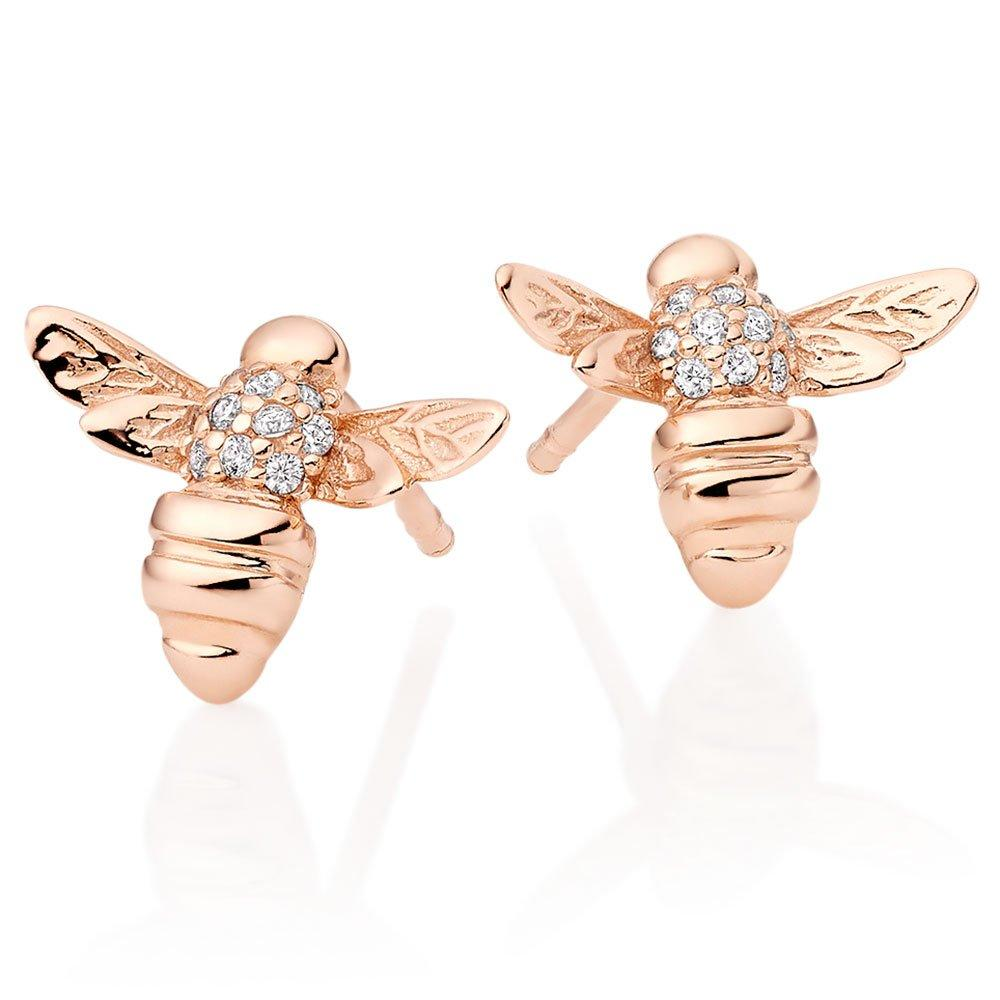 Rose Gold Plated Silver Cubic Zirconia Bee Earrings