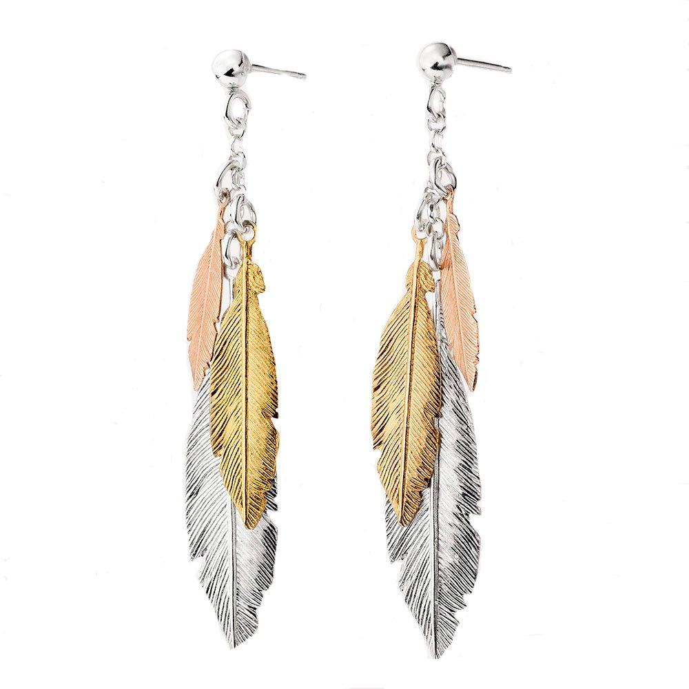 Silver, Rose Gold Plated and Gold Plated Feather Drop Earrings