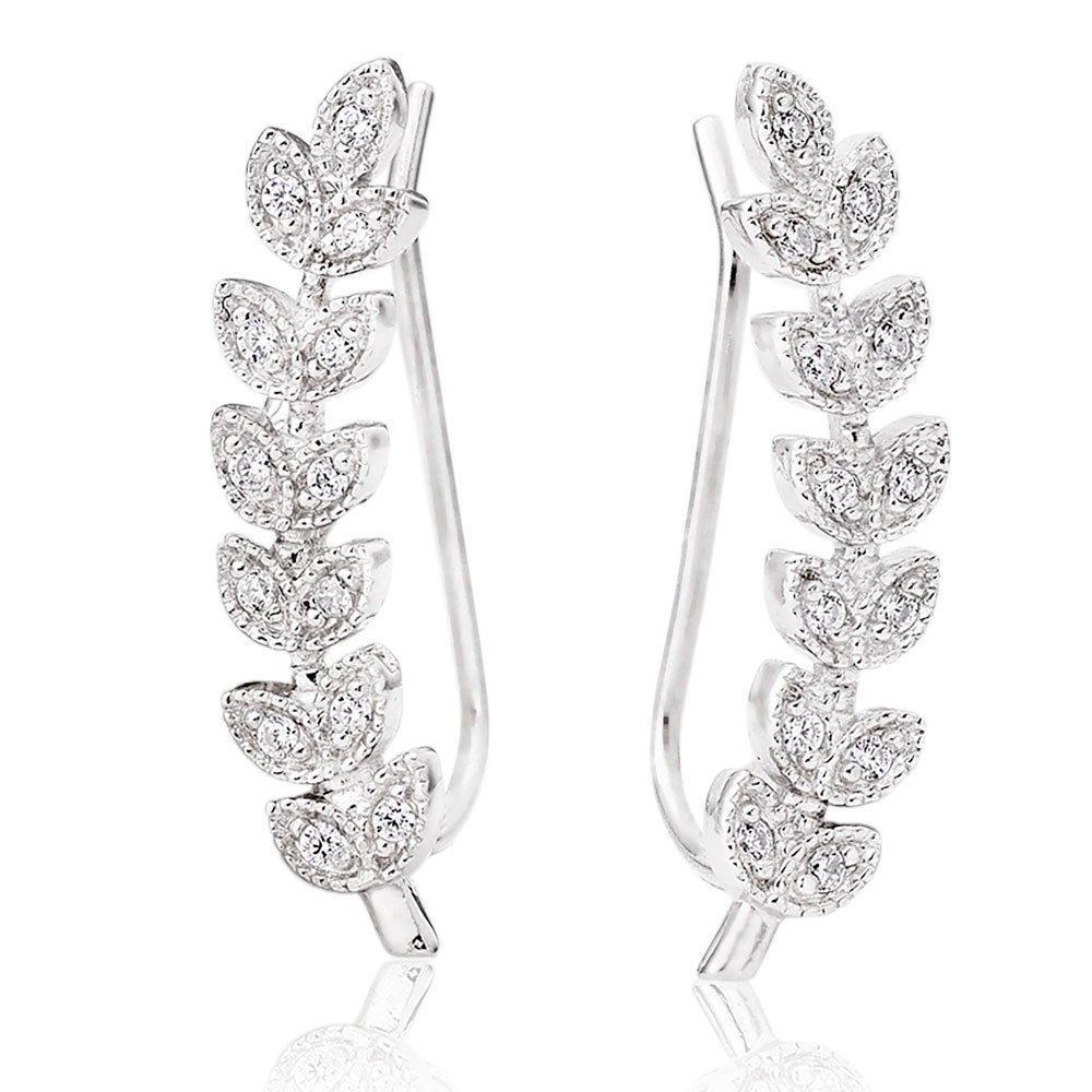 Silver Cubic Zirconia Leaf Climber Earrings