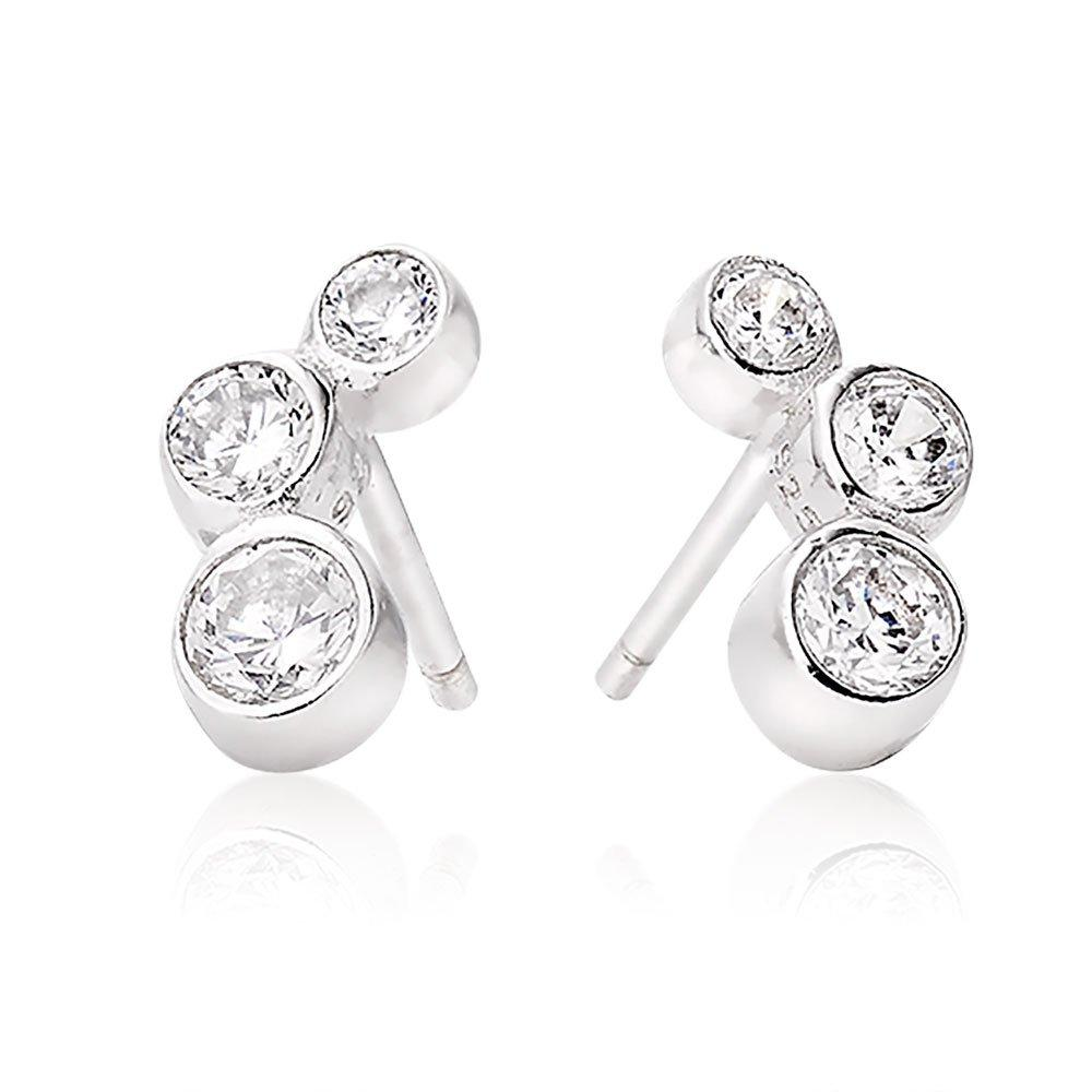 Silver Triple Cubic Zirconia Rubover Earrings