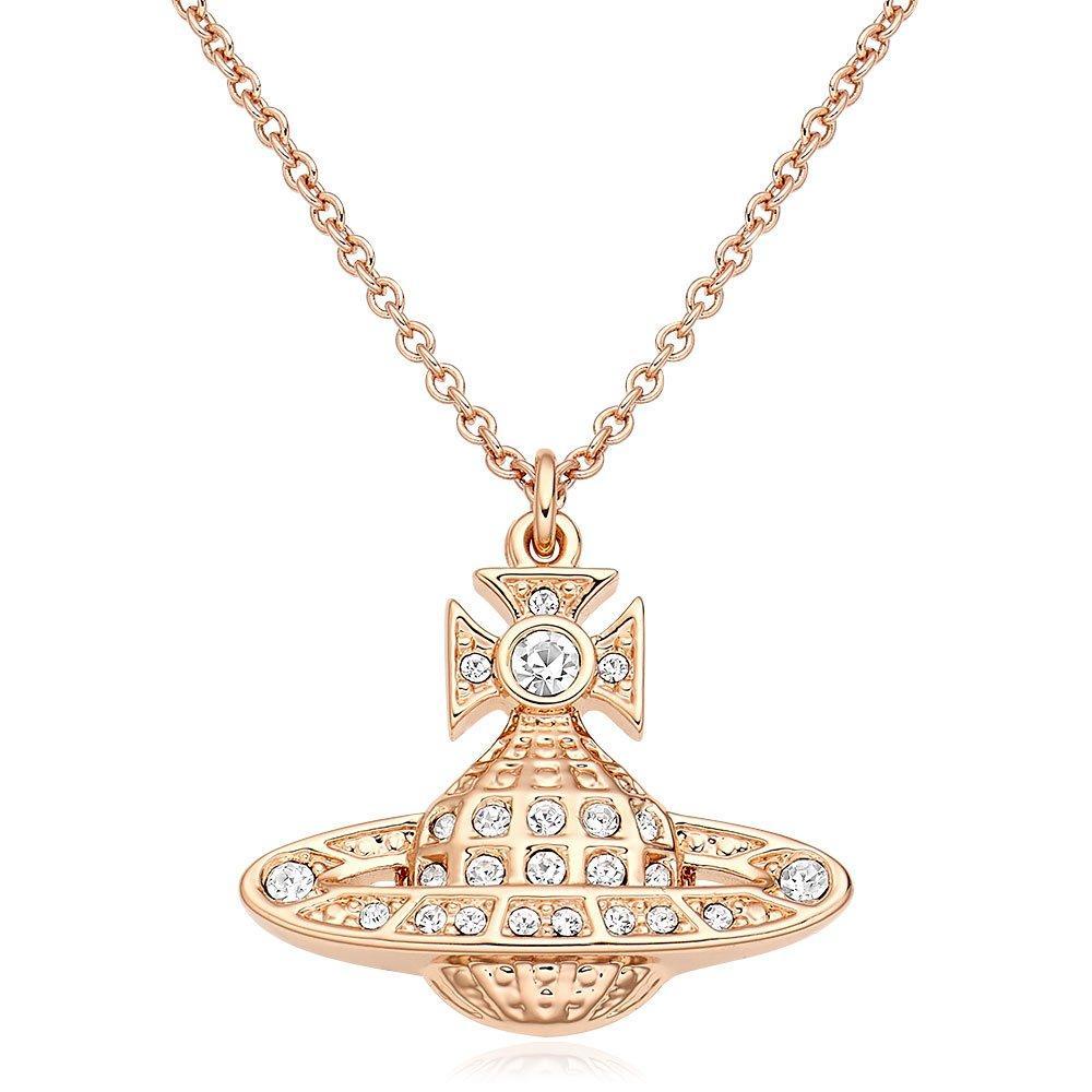 Vivienne Westwood Minnie Rose Gold Tone Crystal Orb Pendant