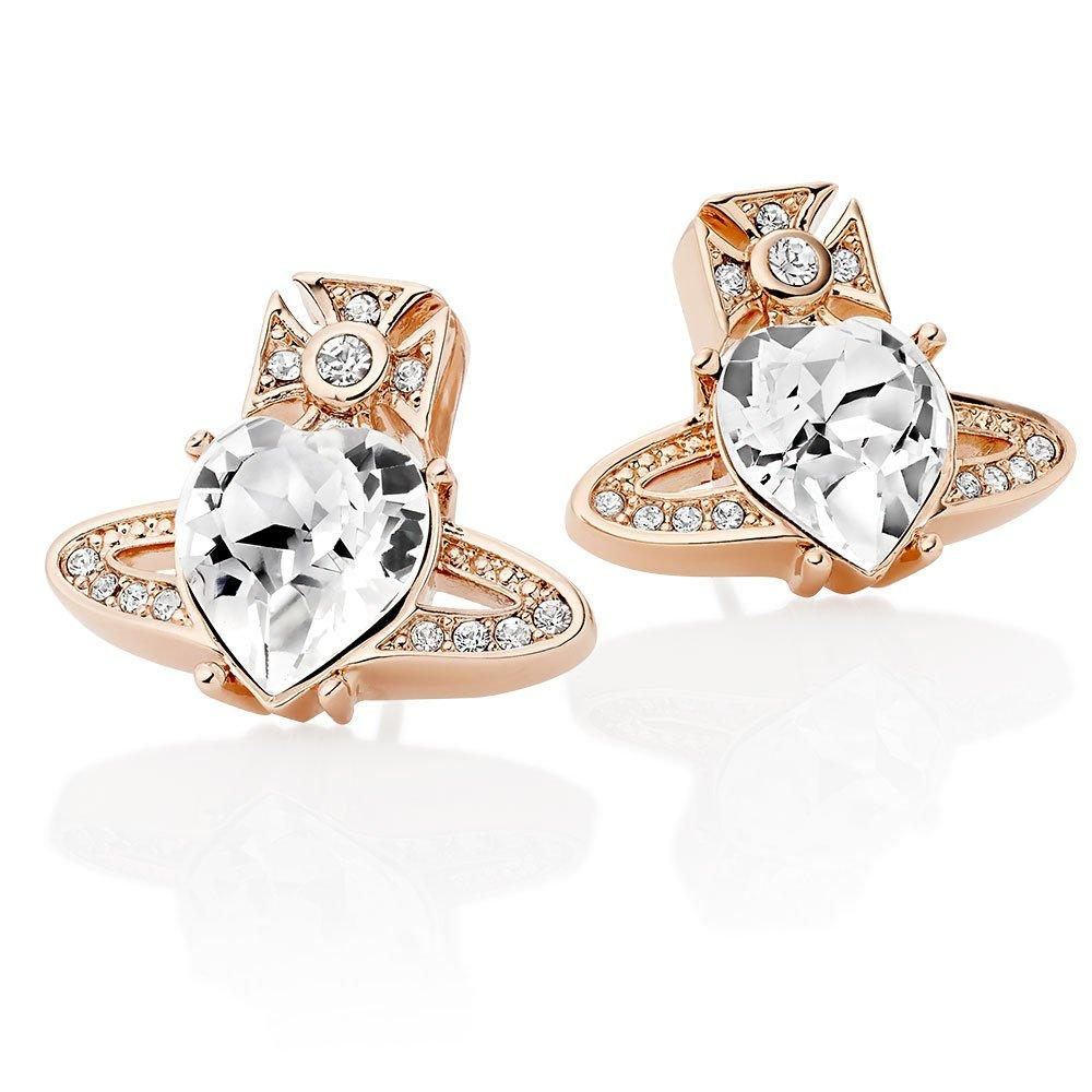 Vivienne Westwood Ariella Rose Gold Tone Crystal Orb Stud Earrings