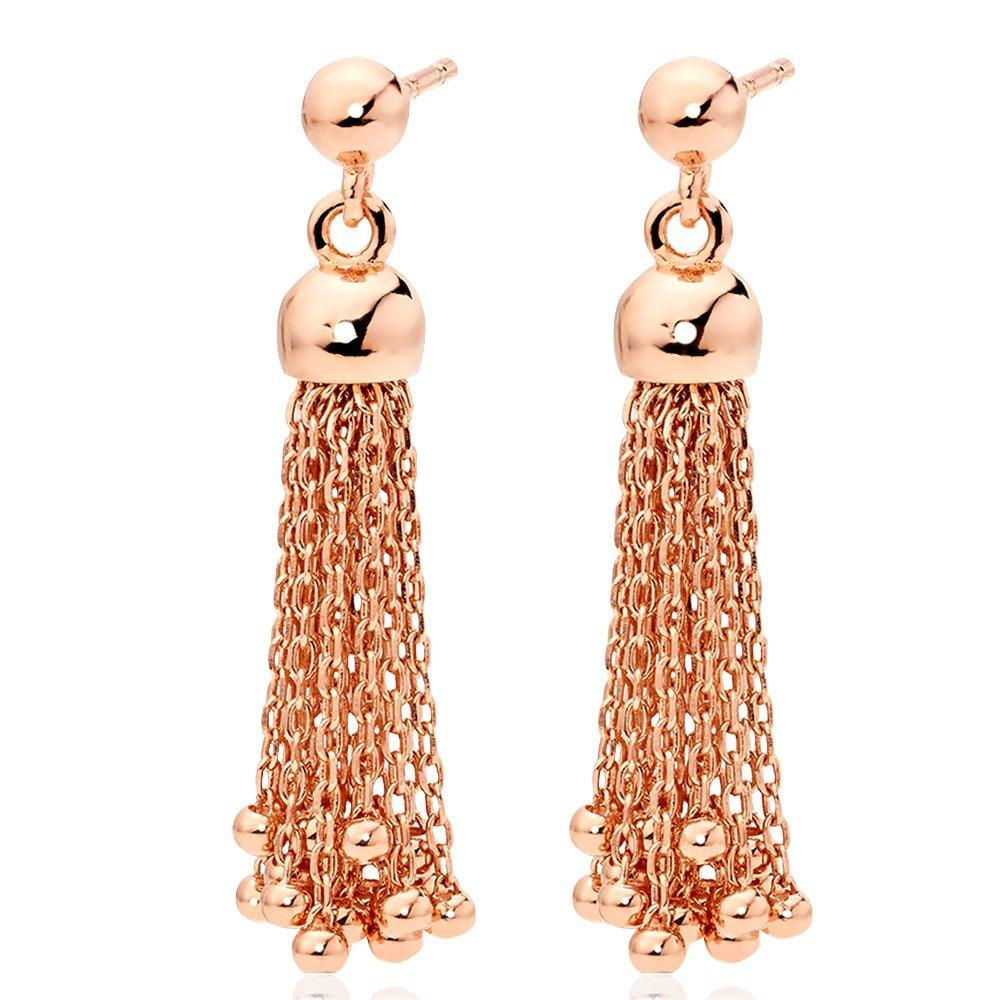 Rose Gold Plated Silver Tassel Drop Earrings