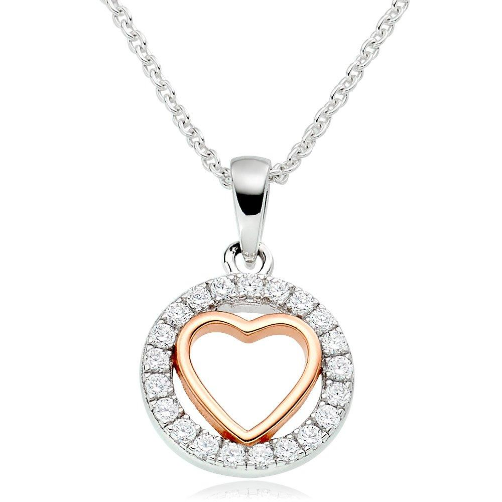 Silver and Rose Gold Plated Cubic Zirconia Heart Pendant