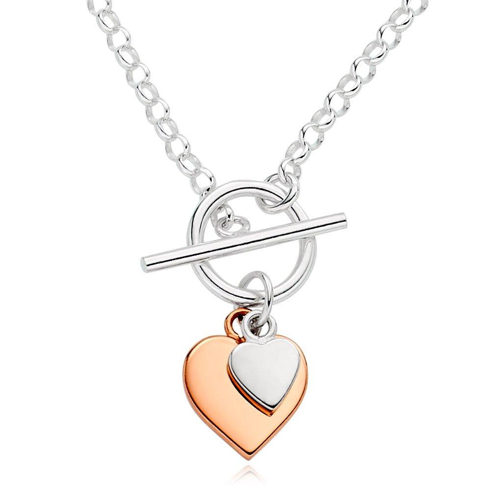 Silver And Rose Gold Plated Double Heart T-Bar Necklace