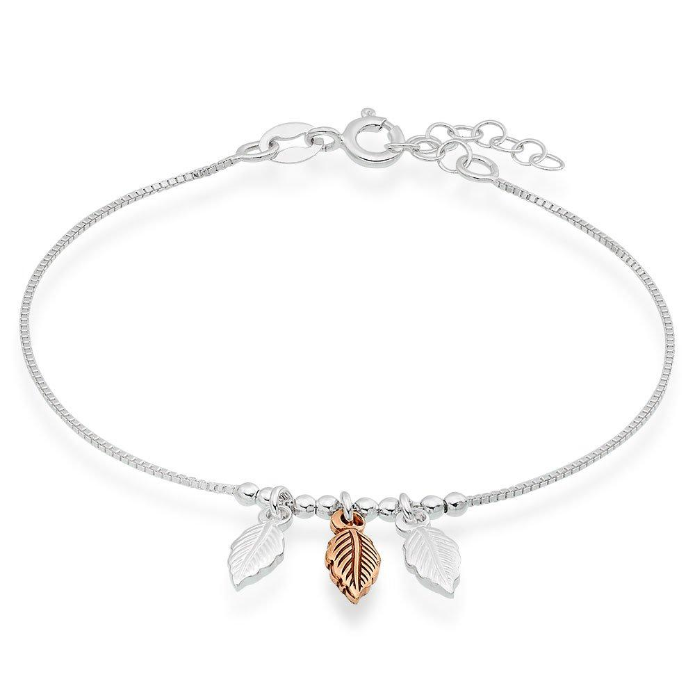 Silver and Rose Gold Plated Feather Bracelet