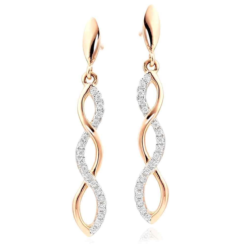 Rose Gold Plated Silver Cubic Zirconia Infinity Drop Earrings
