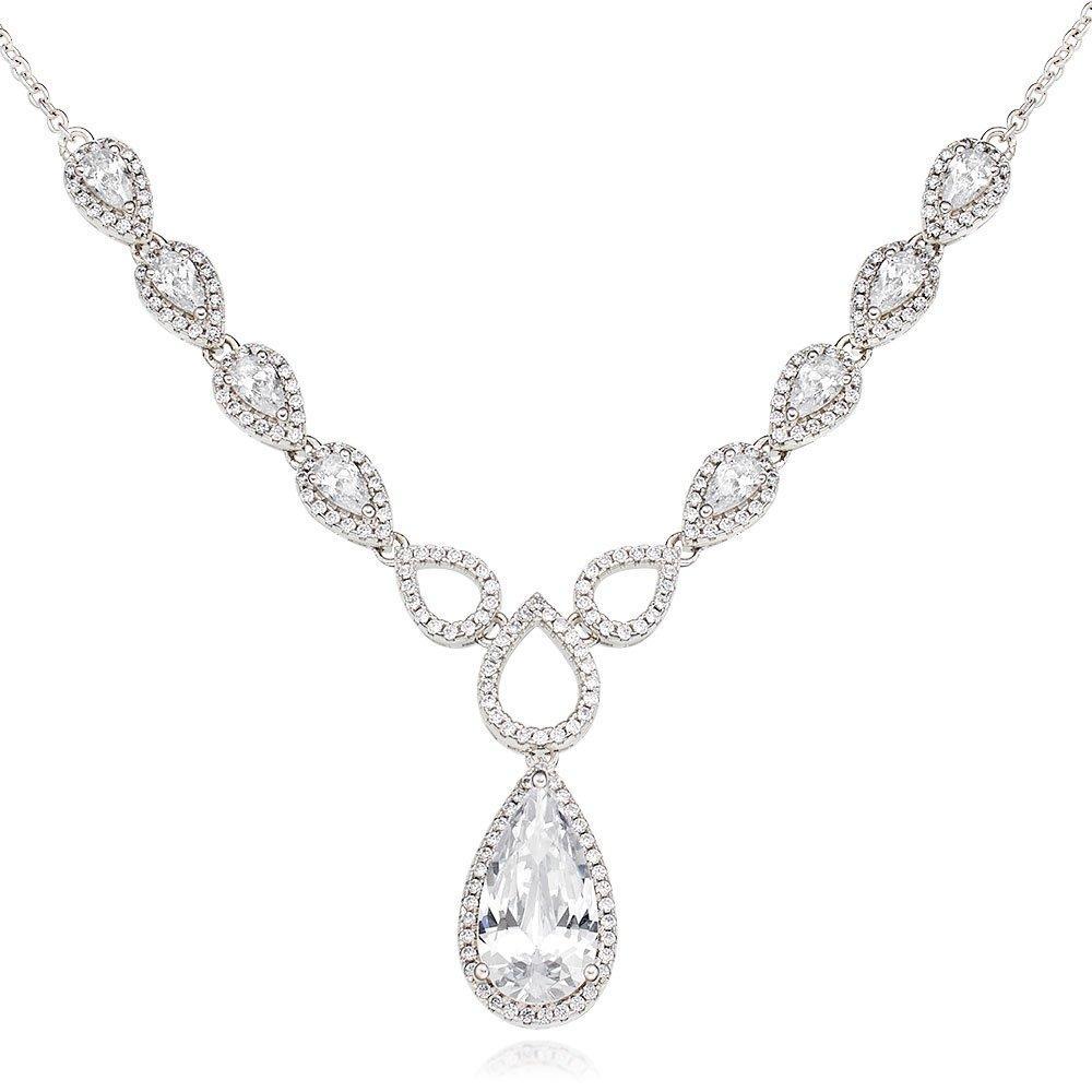 Silver Cubic Zirconia Pear Halo Necklace