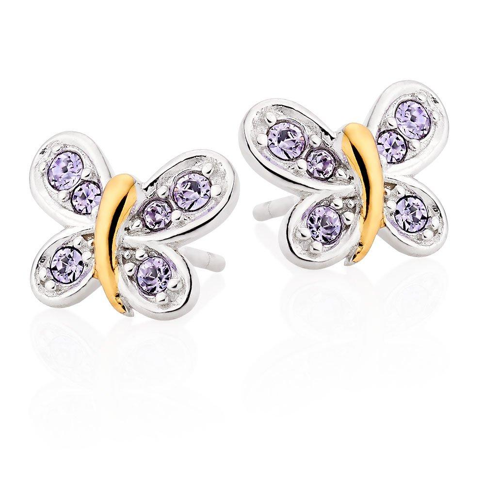 Mini B Silver and Gold Plated Crystal Butterfly Earrings